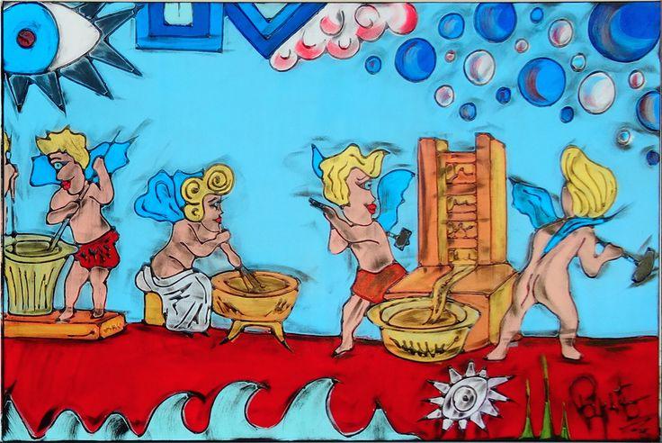 """I PROFUMIERI - Canvas 2 - 150x100 cm. -  Reinterpretazione dell'affresco originale """"I PROFUMIERI"""" che si trova nella Casa dei Vetti a Pompei (Italy)"""