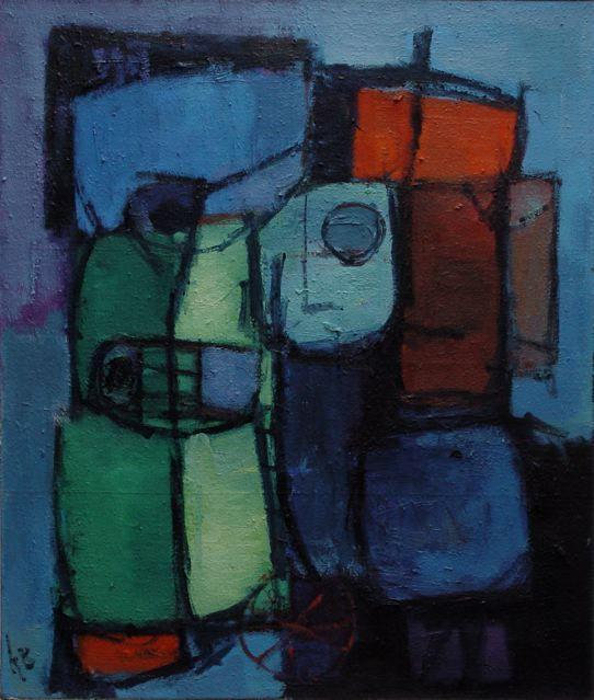 Karel Bleijenberg Doek 130 x 110 Prijs op aanvraag De Haagse schilder Karel Bleyenberg (1913-1981)  De eerste werken waarmee hij naar buiten trad, daterend eind jaren '40, begin jaren '50 waren vooral portretten, opgezet in felle contrasterende kleuren. Daarnaast maakte hij tijdens de jaarlijkse vakantie in zijn geliefde Zuid-Frankrijk vele landschappen, dorps- en zeegezichten. Dat waren voornamelijk gouaches waar hij beïnvloed door het warmere, zuid-Europese licht zijn palet op aanpaste