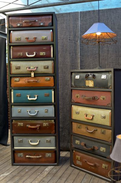 wood frame vintage suitcases with tops taken off for slide out drawers