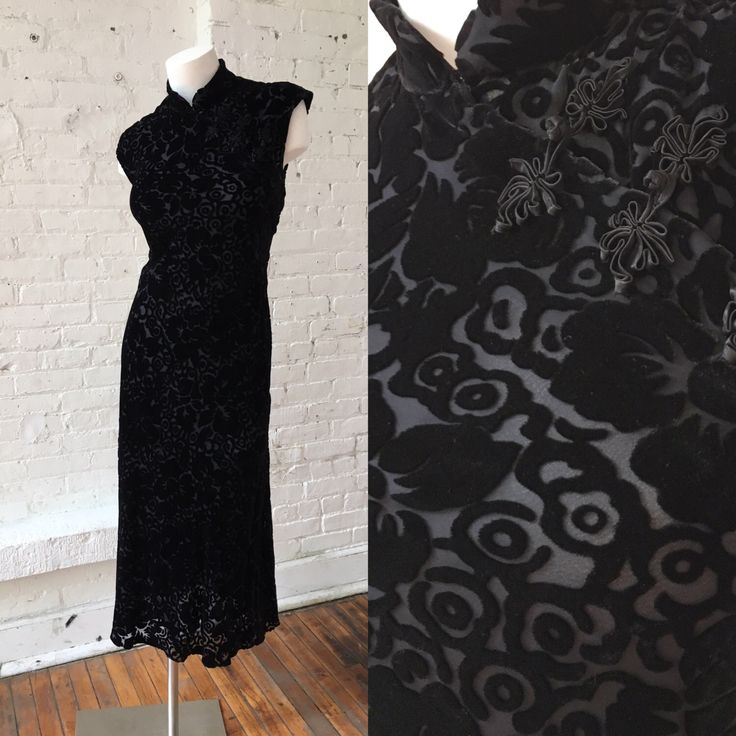 DKNY Black Velvet Cheongsam Dress by FeelNakedwoMyVintage on Etsy https://www.etsy.com/listing/467554159/dkny-black-velvet-cheongsam-dress