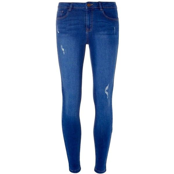 Dorothy Perkins Bright Blue Abrasion 'Darcy' Authentic Super Skinny... ($44) ❤ liked on Polyvore featuring jeans, pants, bottoms, jeans/pants, blue, dorothy perkins jeans, blue jeans, skinny fit jeans, dorothy perkins and skinny jeans