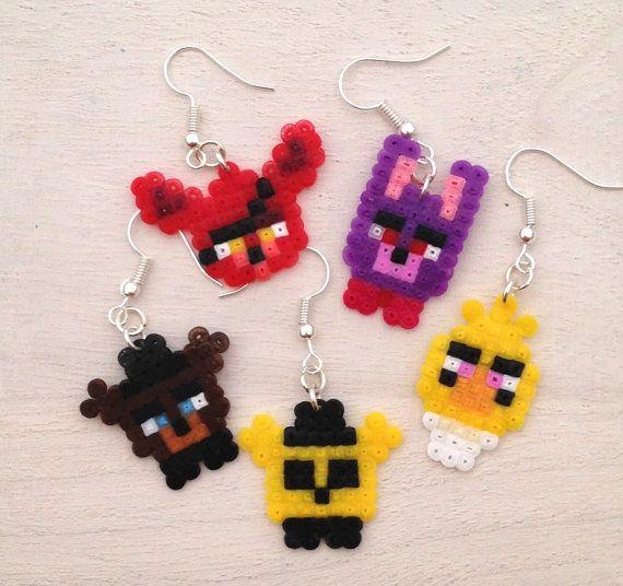 Five Nights at Freddy's inspired Perler Bead Earrings by KungFuse FNaF Perler/Hama bead
