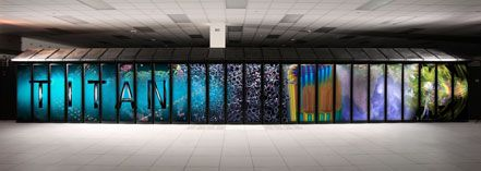 Titan is a supercomputer built by Cray at Oak Ridge National Laboratory for use in a variety of science projects.
