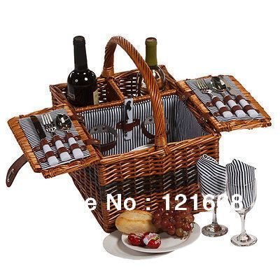 """Cheap picnic gift basket, Buy Quality basket manufacturer directly from China picnic basket Suppliers:Size:43x28x38cm length x width x height ( it is about17""""x11""""x15"""" in inch) Material:full willow("""