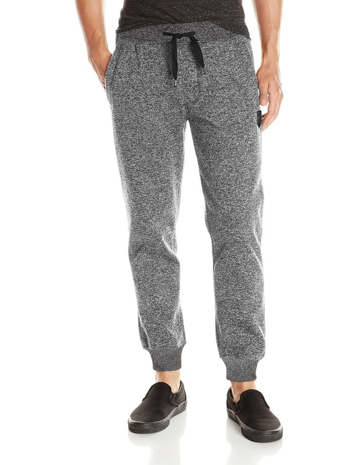 Southpole Men's Jogger Pants Basic Fleece Solid Clean Colors, Marled Grey (New), 2XL