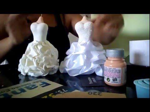 Saias de vestido de noiva em biscuit - YouTube