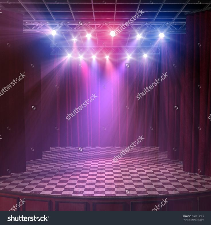 3d render of an empty lighted stage interior