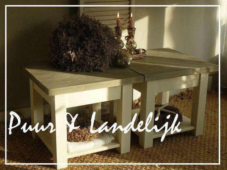 Maatwerk! Landelijke hoek-/salontafels old weathered