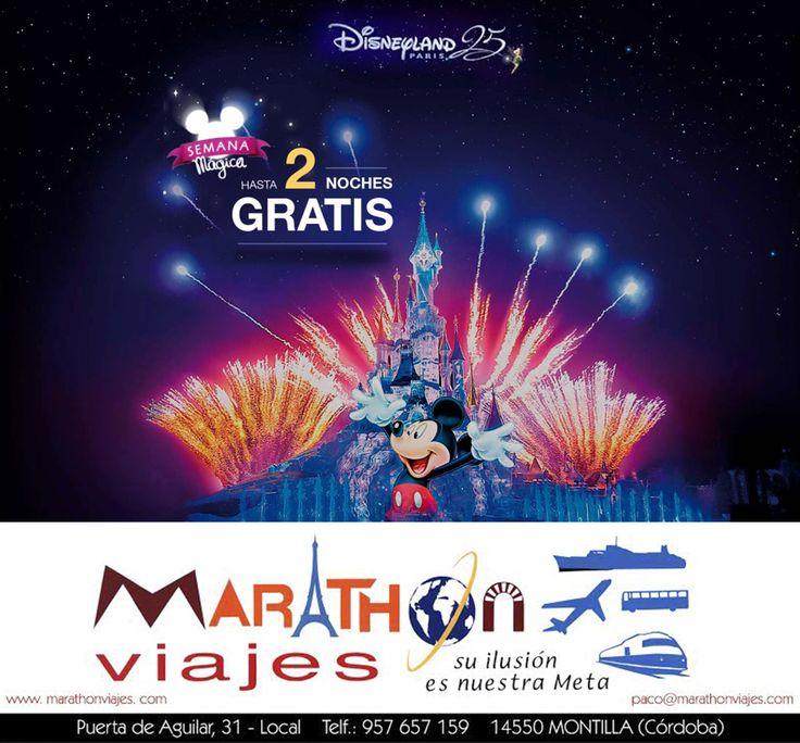 """No dejes pasar esta #oferta y disfruta de este #viaje 😍  """"Semana Mágica #Disneyland #Paris 25 aniversarío""""...  Y si reservas antes del 22 de Marzo puedes tener hasta dos noches totalmente #gratis!!"""