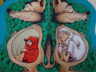un drôle d'univers avec la version du Petit Chaperon rouge de Claude Ponti : Dans le loup