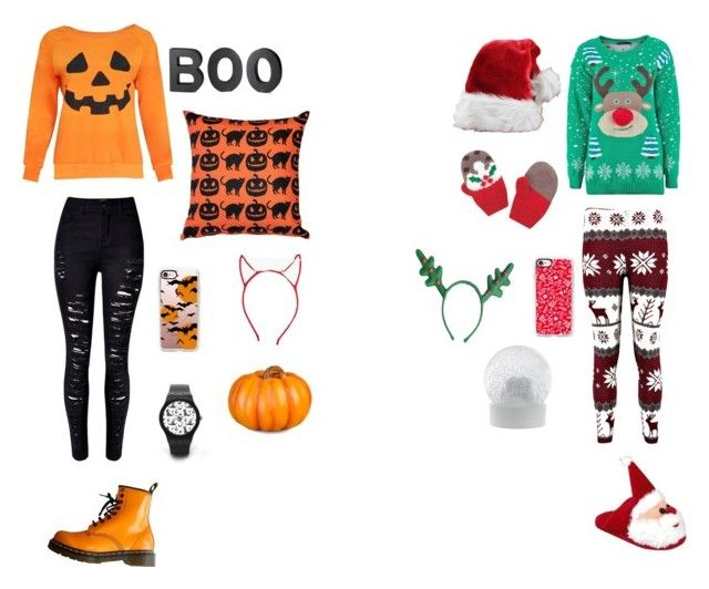 """""""HALLOWEEN VS CHRISTMAS"""" by juliapedersen0 on Polyvore featuring Improvements, Crate and Barrel, Casetify, Pillow Decor, WithChic, Dr. Martens, Wedgwood and Boohoo"""