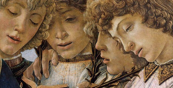 Maria Col Bambino e Angeli Cantanti,dettaglio.  Botticelli