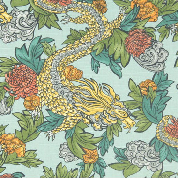 Japanese / Chinese Flat Weave Fabric |  Ming Dragon Aquatint from Loome Fabrics
