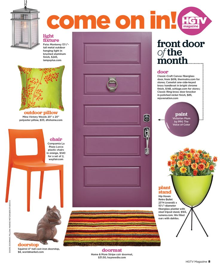 """Classic-Craft Canvas Collection fiberglass door featured as HGTV Magazine's """"Front Door of the Month"""" for November 2015."""