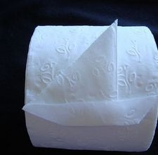 Toilet paper SAILBOAT folding tutorial.  This is for Kenny who loves origami