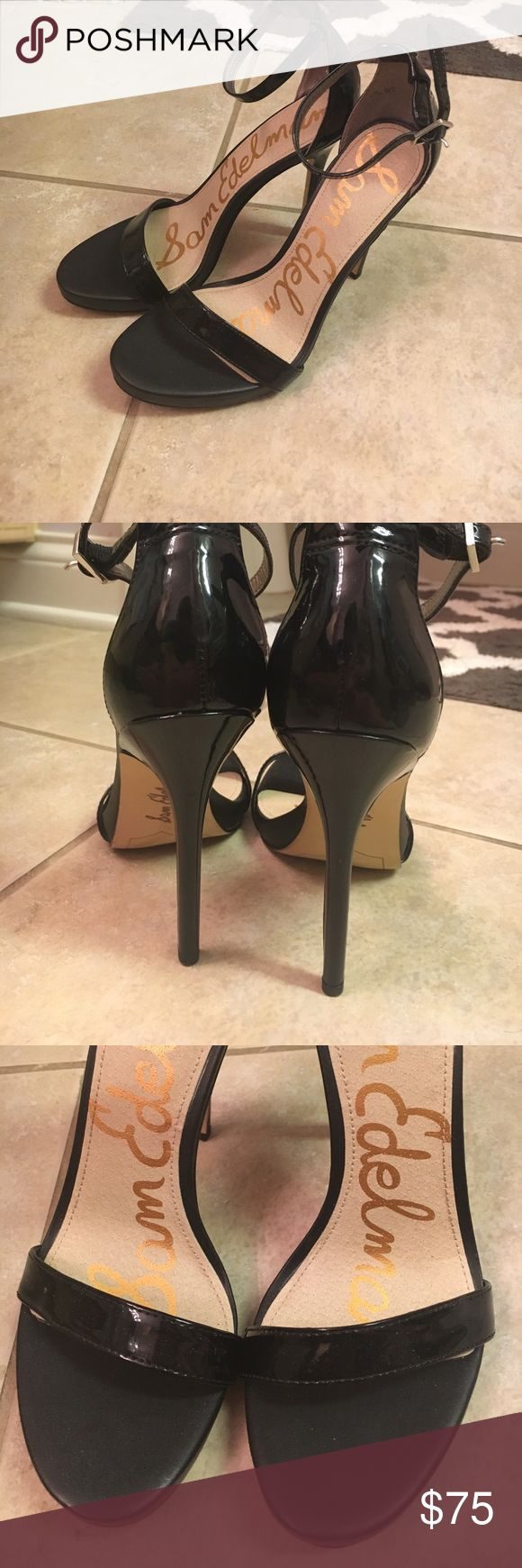 Sam Edelman 6.5 Black Heels Adjustable Strap that attaches around ankle! And one around the toes but not adjustable. Only worn twice. Great Condition with no indentations around the toes. Bottoms were scraped to prevent slipping on carpet. Price is Negotiable Sam Edelman Shoes Heels