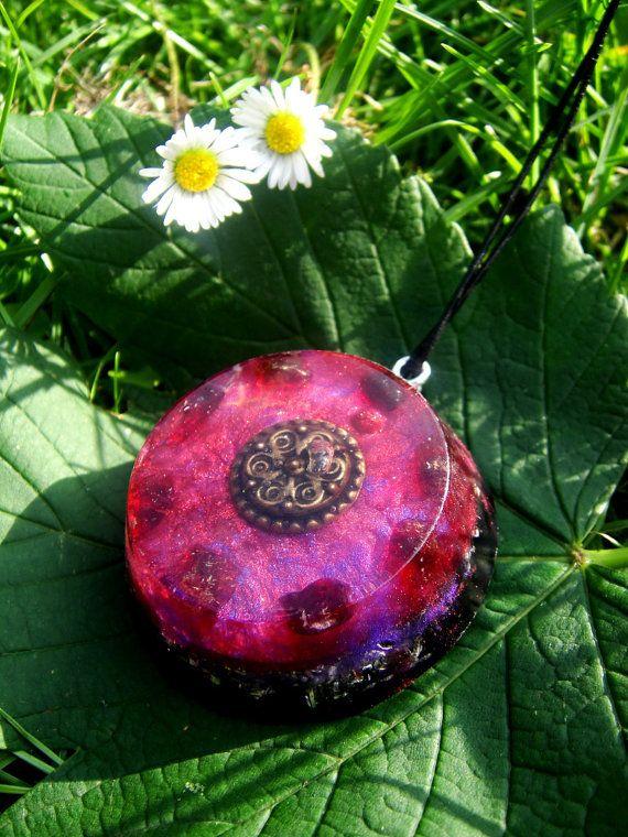 Garnet Orgonite Pendant Talisman - EMF Protection and Energy Healing - Made with resin, gemstones and metal shavings.