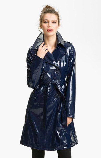 Via Spiga Blue Double Breasted Patent Rain Slicker