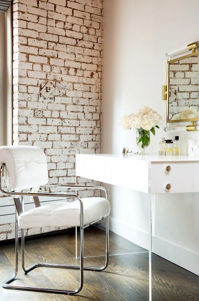 Stunning Dressing Room Features Whitewashed Exposed Brick Walls Alongside A White Lacquer Desk With Lucite Base Jonathan Adler Bond