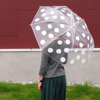 大きな水玉ビニール傘