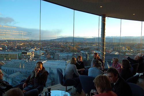 The highlight for many visitors to the Guinness Storehouse is the Gravity Bar, where they collect their end of tour pint of Guinness and can relax and enjoy the 360 degree views across Dublin City.