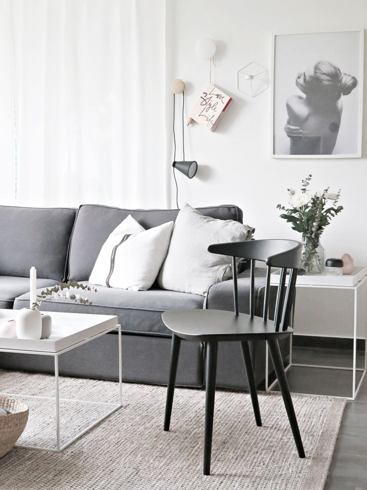 Scandi living room with grey sofa