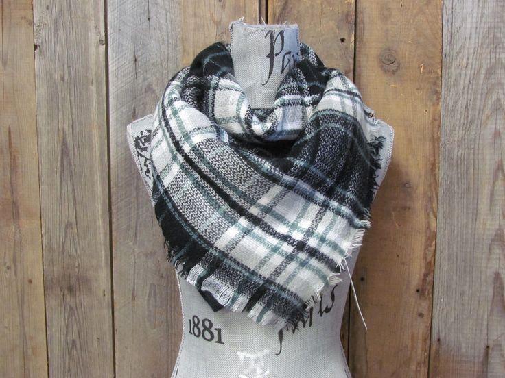 Black Striped Blanket Scarf