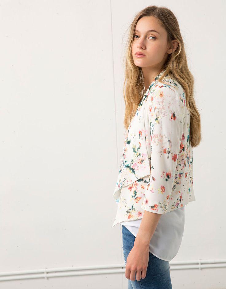Blazer Bershka imprimé fleurs - Blazers & Kimonos - Bershka France