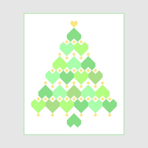 Christmas Hearts  Zigzag Heart Diamond Tree pattern by HopesQuiltDesigns