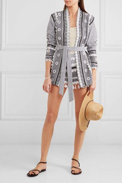Dodo Bar Or - Embellished Lace-trimmed Cotton-jacquard Shorts - Charcoal - medium