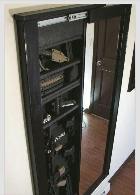Nice Hidden Gun Safe Behind The Bedroom Mirror. I Want.