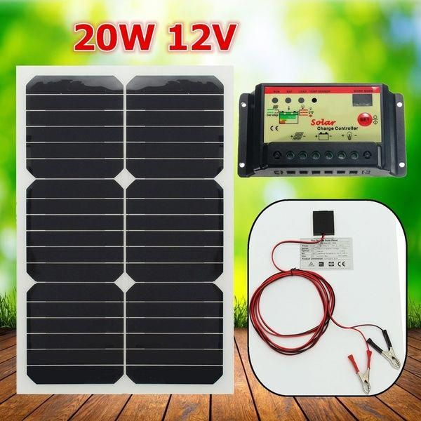 20w 12v Waterproof Monocrystal Solar Panel Semi Flexible Solar Cells Poly Solar Panel Module Battery Charge Solar Energy Panels Solar Panels Solar Panel Module