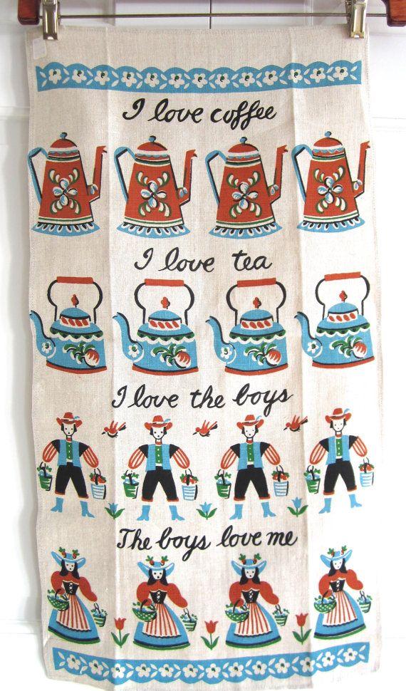 Vintage Mid Century Towel Coffee Tea Boys Love at NeatoKeen