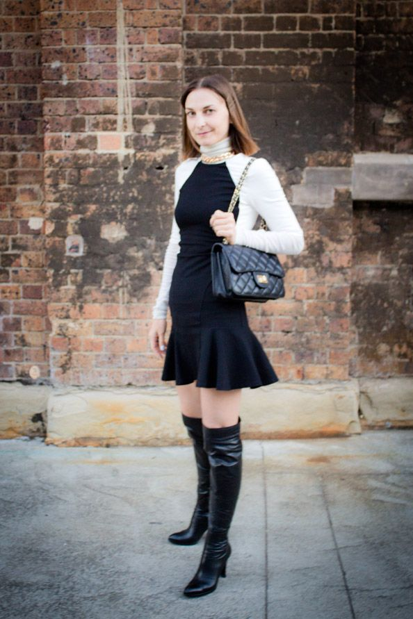 Fashion week outfit - 3 - Black and white dress. Click through for the outfit details.