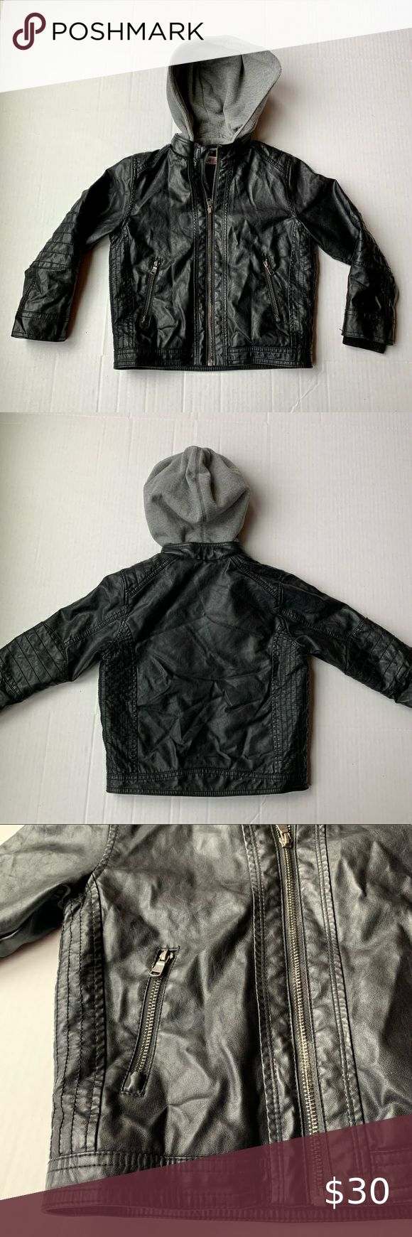 Boys H&M Faux Leather Hooded Jacket in 2020 Faux leather