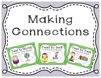 Making Connections anchor charts and bookmarks for students. Need to use these before starting DRA.