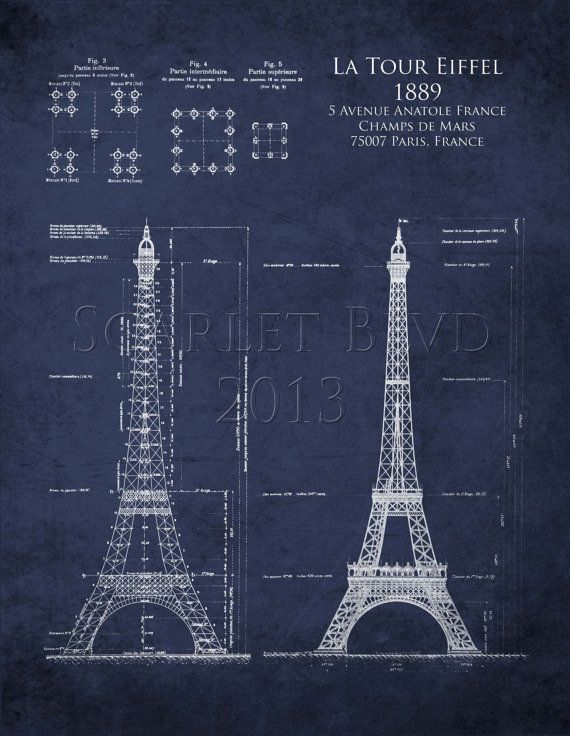 Eiffel Tower architectural blueprints art  8 x 10 by ScarletBlvd, $25.00