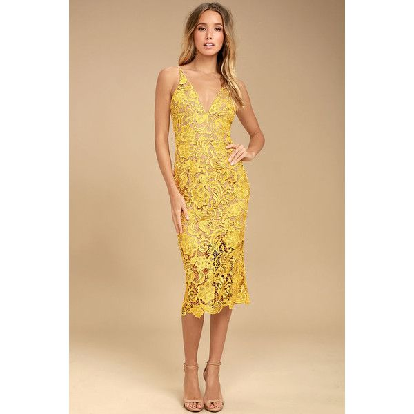 Dress the Population Marie Yellow Lace Midi Dress ($217) ❤ liked on Polyvore featuring dresses, yellow, crochet lace dress, yellow midi dress, sexy dresses, lace sheath dresses and lace midi dress