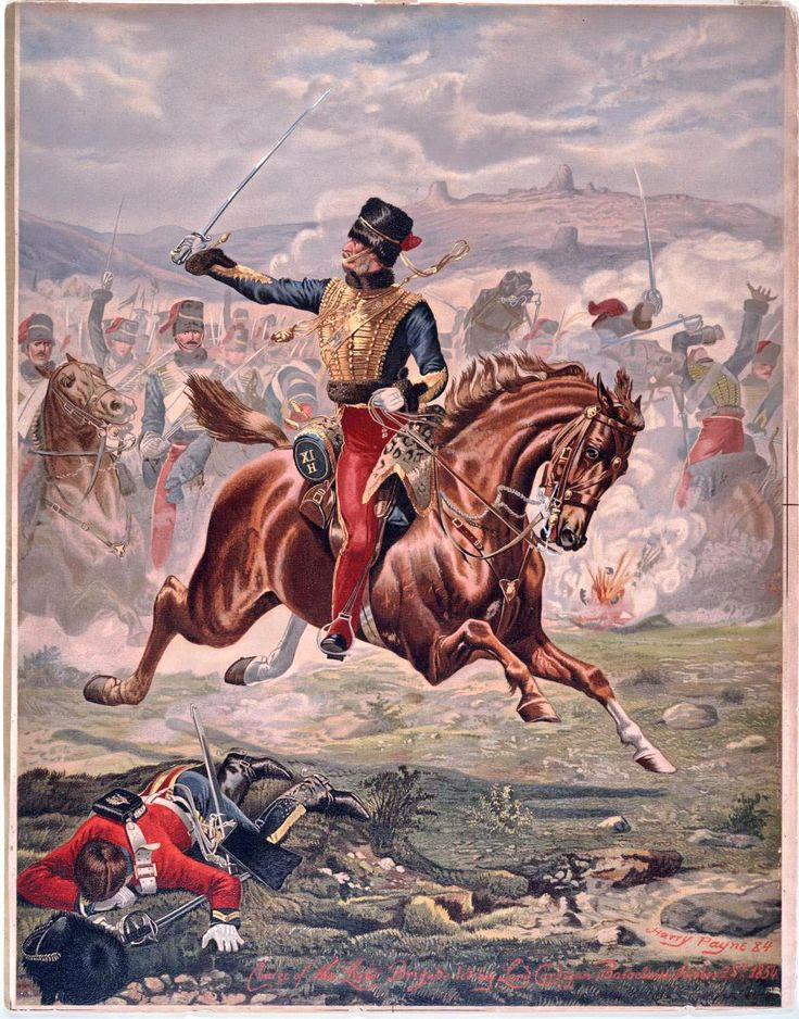 Lord Cardigan leading the charge of the Light Brigade, Battle of Balaclava, Crimean War