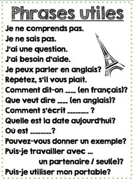 Printable French Classroom Poster - Phrases Utiles!