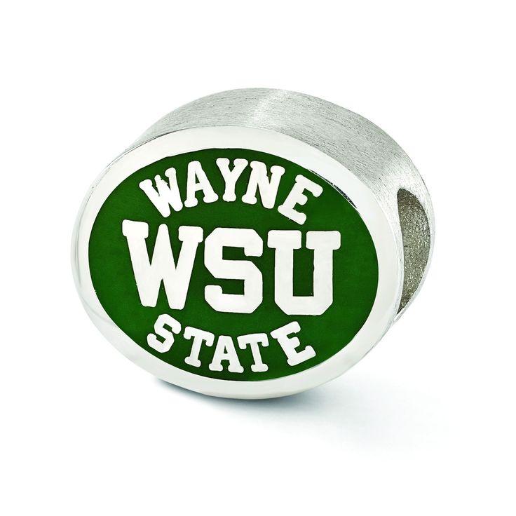 Sterling Silver Enameled Wayne State University Collegiate Bead