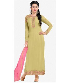 Majestic Green And Pink Georgette Salwar Suit.