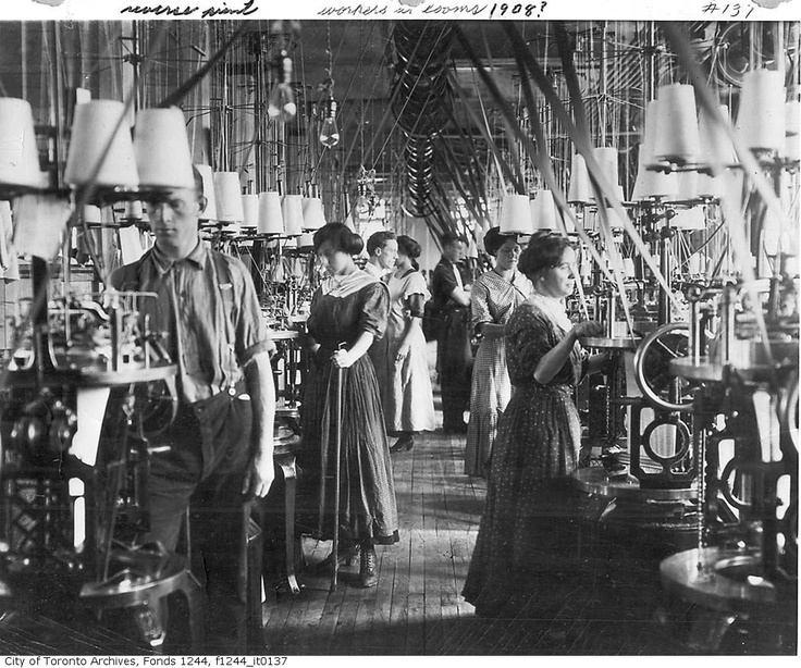 Working looms in a textile factory, 1908. City of Toronto Archives.