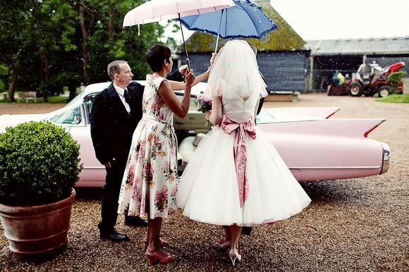 A 1960's Pink Cadillac at Preston Court for a Candy Anthony Bride...