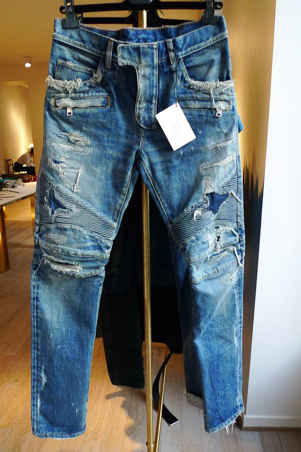 Balmain Fall/Winter 2013 Distressed Moto Jeans