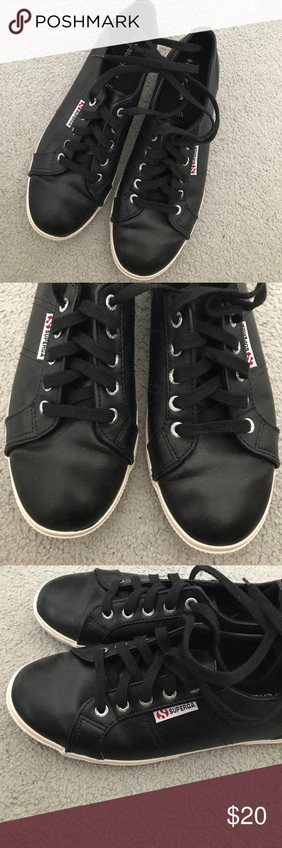 Superga Black Sneakers Tennis Shoes 10 Worn once, excellent condition. From Target. Canvas lining, rubber outside. Superga Shoes Sneakers