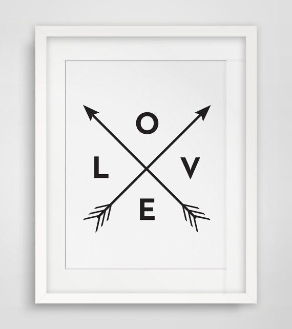 Black and White Wall Art Love Art Wall Decor by MelindaWoodDesigns