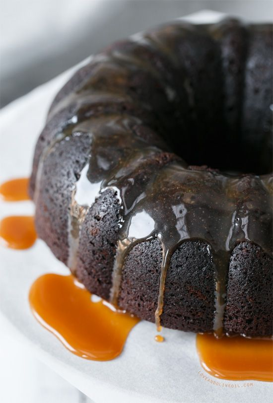 This gorgeous chocolate bundt cake is not as innocent as it looks, moist and decadent with a whiskey caramel drizzle.