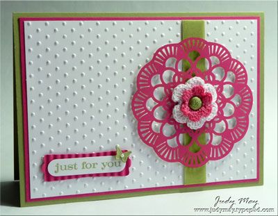 need to make this!Dots Ideas, Cards Ideas, Lace Doilies, Flirtatious Specialty, Easy Cards, Doilies Cards, Perfect Vibrant, Judy Design, Art Philosophy