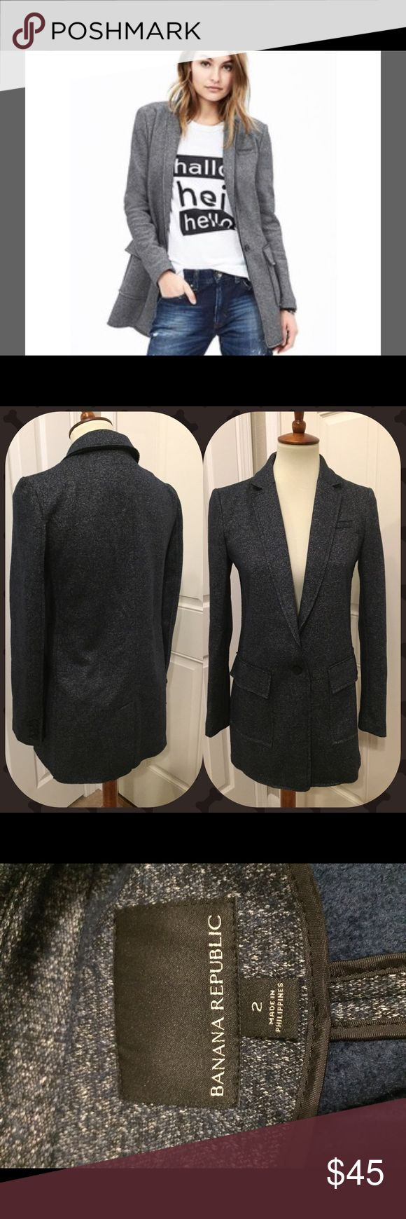 Banana Republic blazer This dark gray blazer is stylish and is like new! It would make a great addition to anyone's closet! It's a 2 but fits more like a 4 or a small 6. The fabric definitely has some stretch to it. Banana Republic Jackets & Coats Blazers